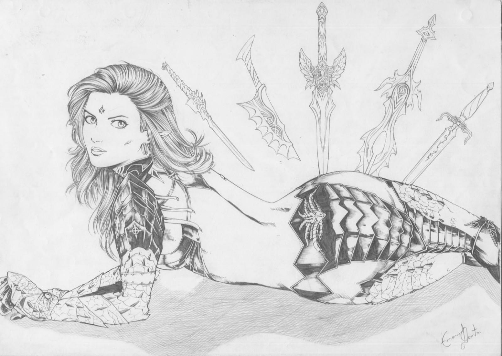 Drawn amour draconic Drawing ELF Art Pinup Dantos