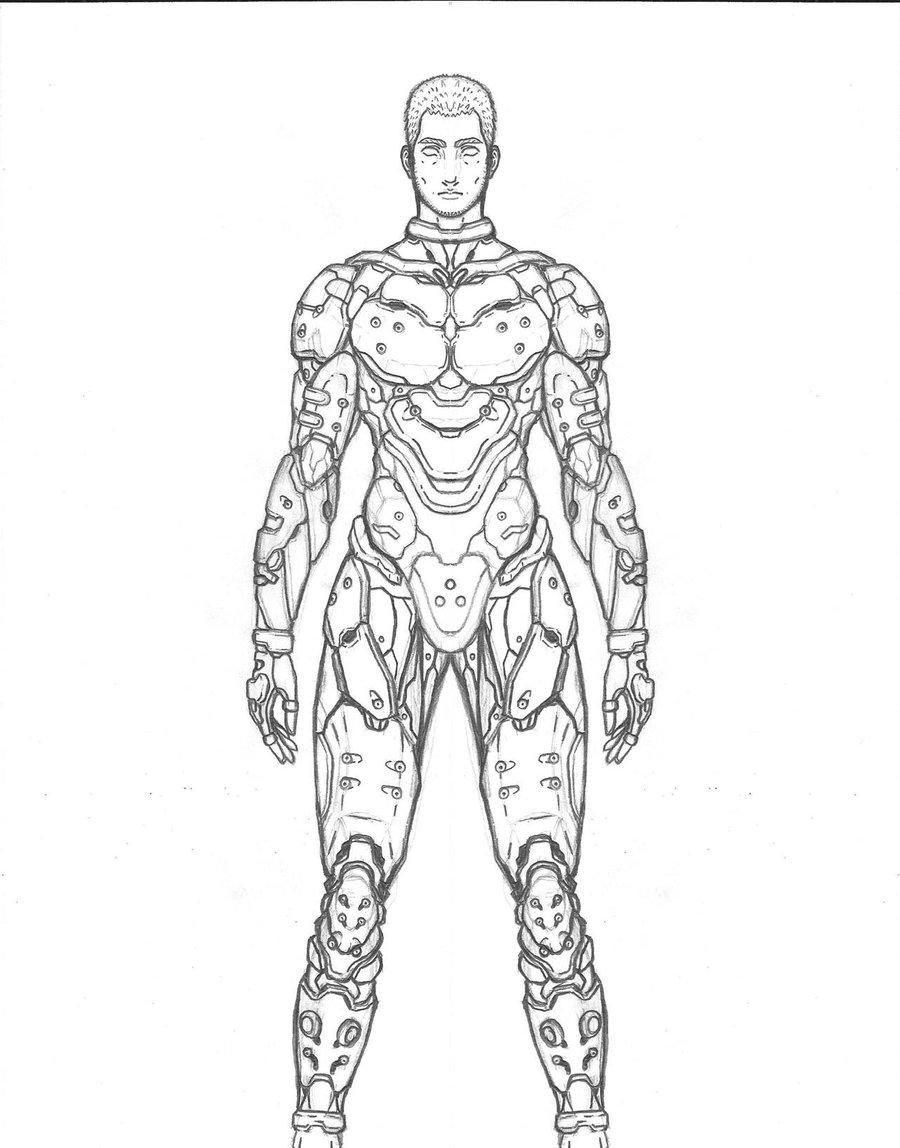 Drawn soldier futuristic Soldier resistance triatholisk soldier by