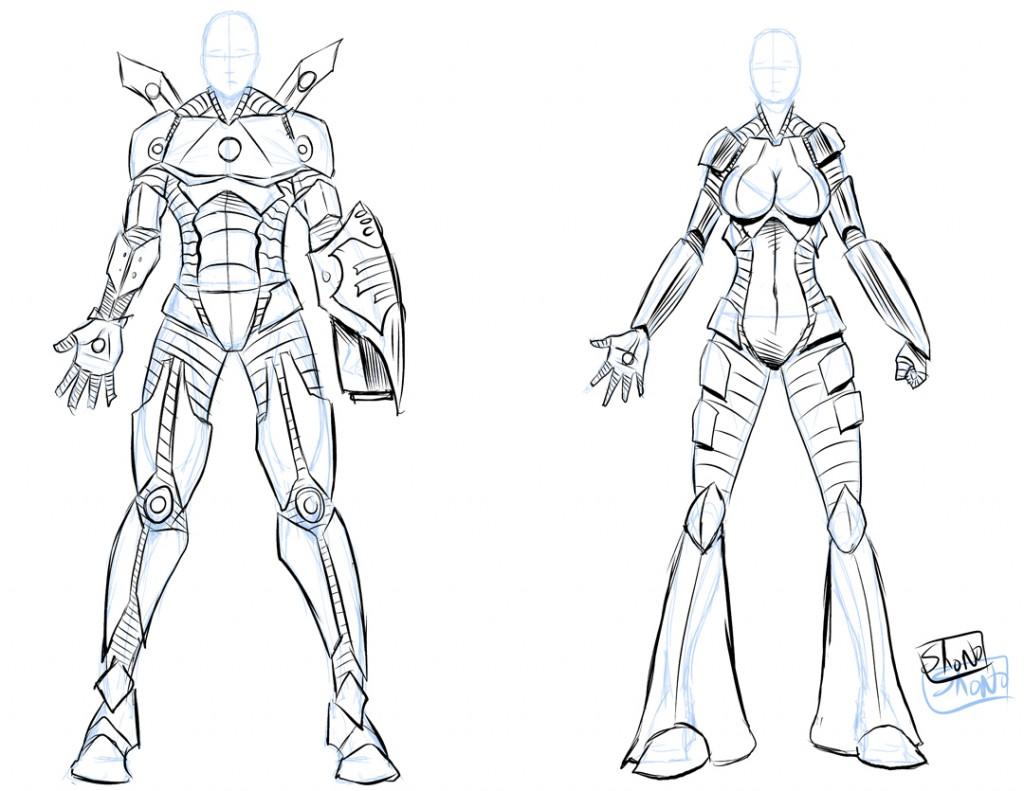 Drawn amour light Armor tech version armor high