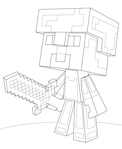 Drawn amour minecraft Coloring Armor Minecraft Creative Pages