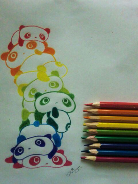 Drawn amour rainbow Panda Panda  Stack Rainbow