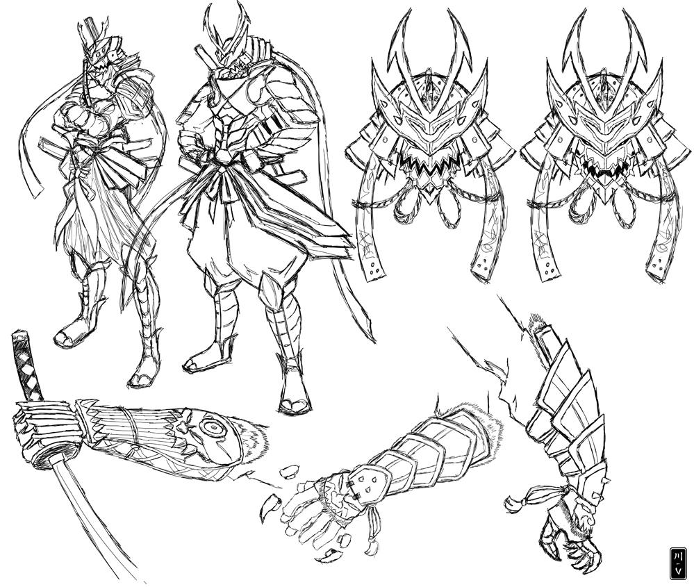 Drawn samurai simple V Drawing Gallery samurai Armor
