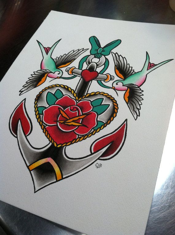Drawn anchor american traditional Pinterest Rose 8 Traditional best