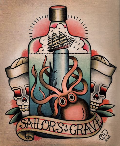 Drawn anchor american traditional Octopus 25+ american tattoo Nautical
