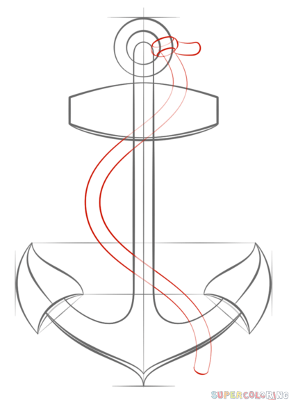 Drawn anchor anchor rope How Buttons Drawing draw an