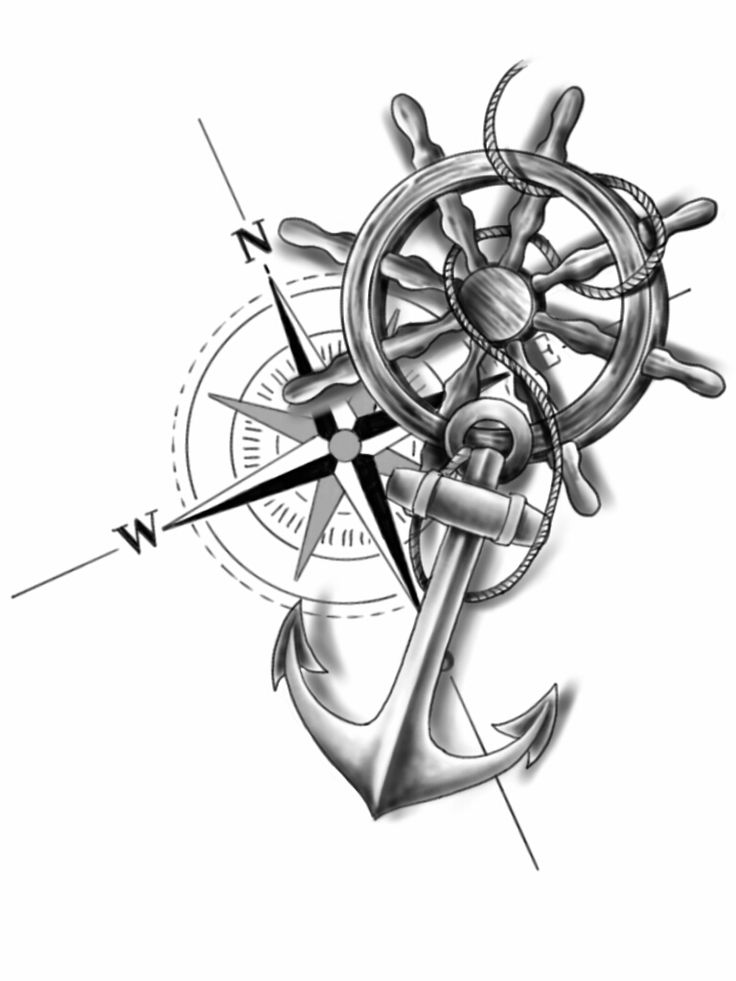 Drawn stare nautical Wheel Anchor tattoos tattoo compass