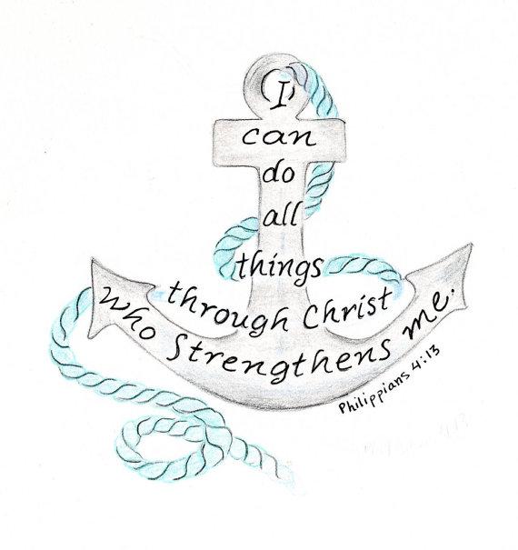 Drawn anchor bible verse  Feline Kitten nautical Portrait
