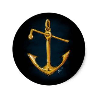 Drawn anchor classic Round Zazzle classic sticker hand