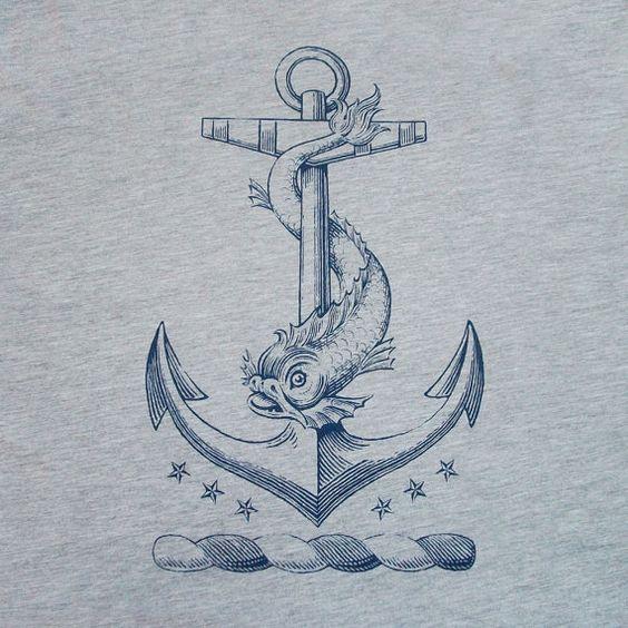 Drawn anchor classic T Nautical motifs Antique dolphin