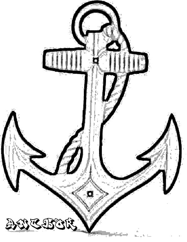 Drawn anchor coloring page Draw Pages Boat Pages to