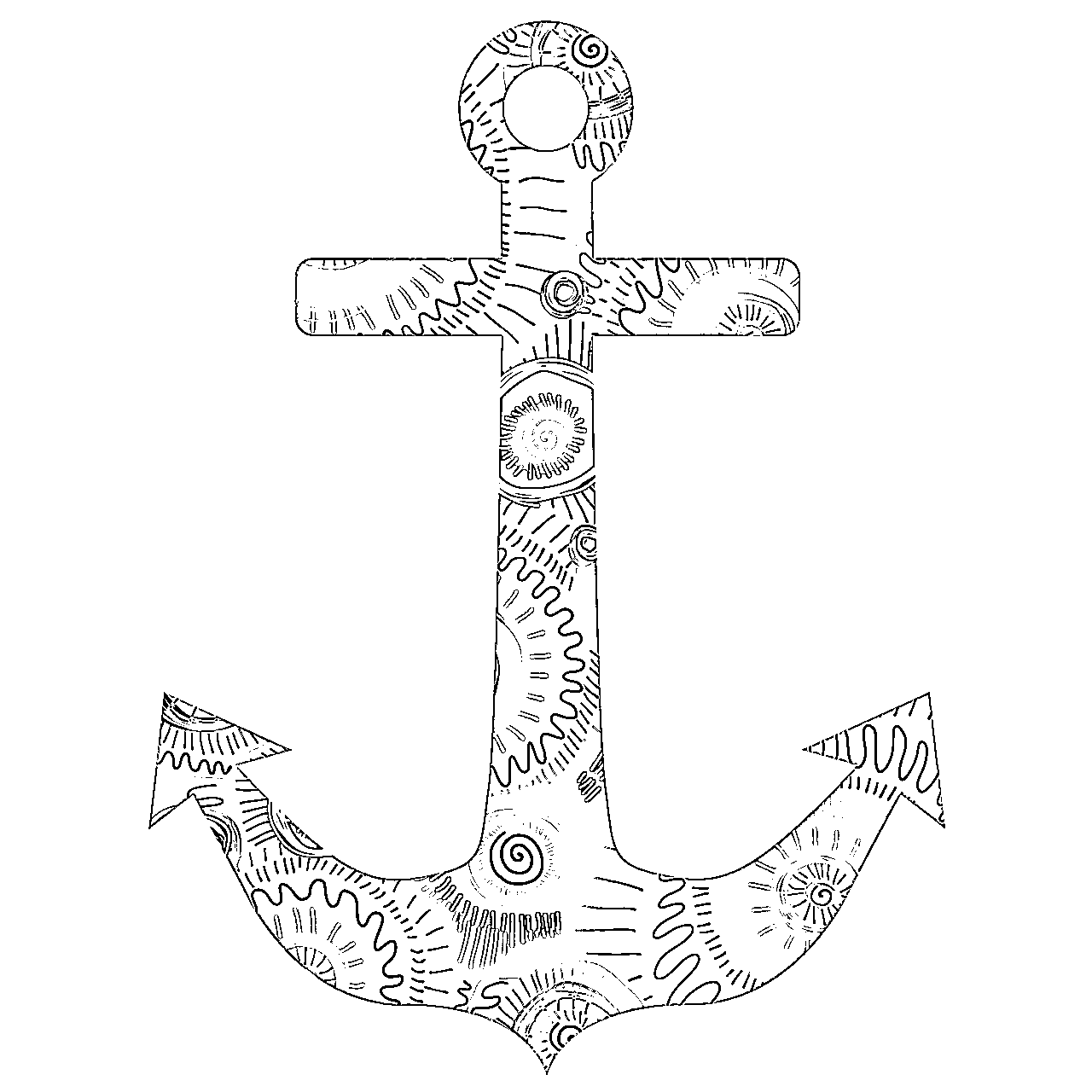 Drawn anchor coloring page Page Anchor Adult 3 Coloring