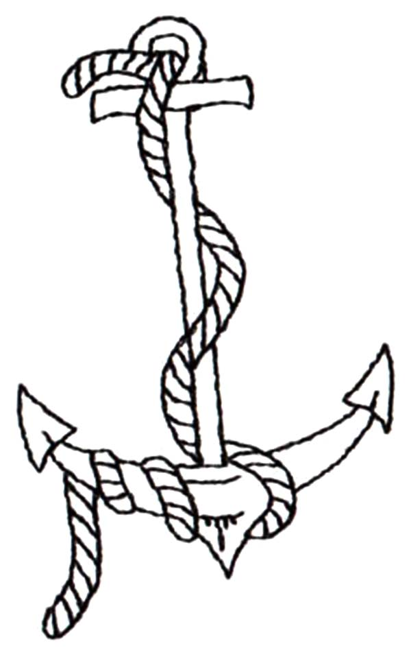 Drawn anchor coloring page Draw Pages Rope Pages to
