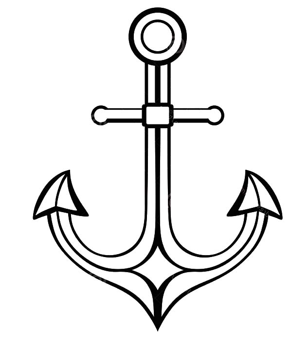 Drawn anchor coloring page Pages Silhouette Silhouette Coloring Coloring