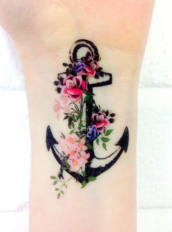 Drawn anchor flower Temporary Anchor tattoos 3x2