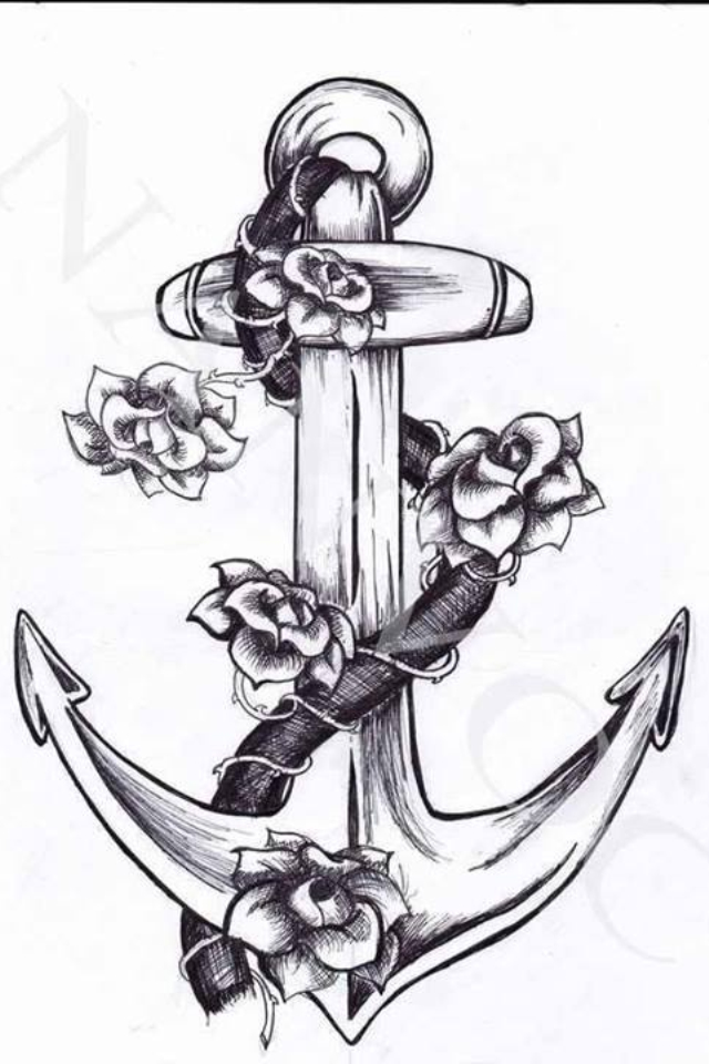 Drawn anchor flower Drawing anchor anchor drawing Pinterest