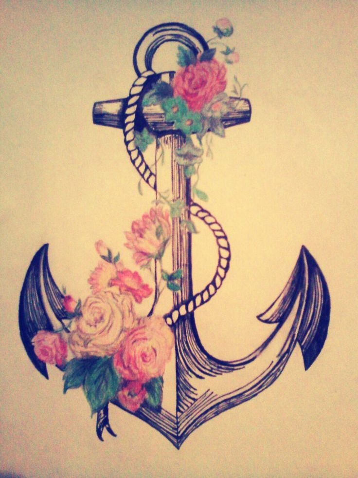 Drawn anchor flower  to refuse Anchor ♥
