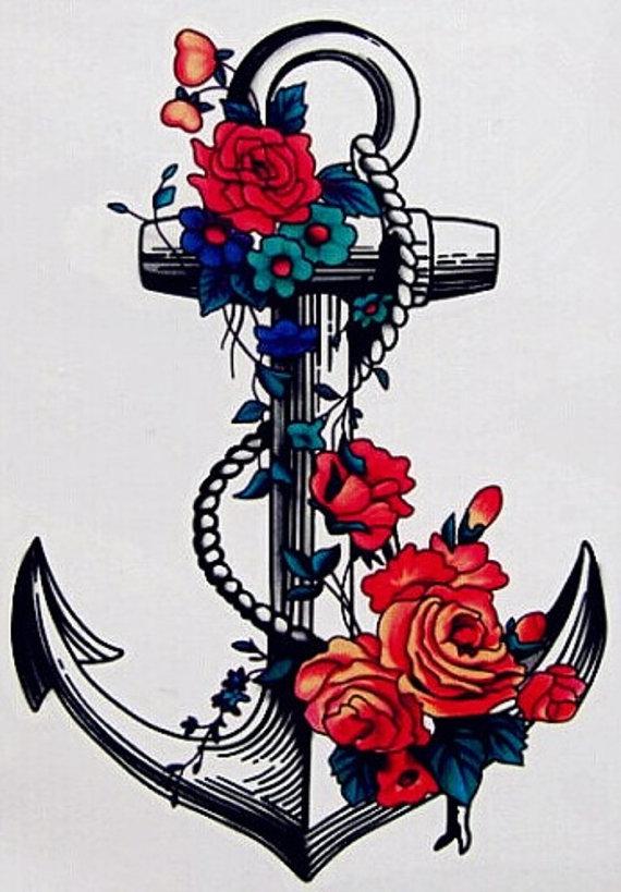 Drawn anchor flower Flower Tattoo Various com ink