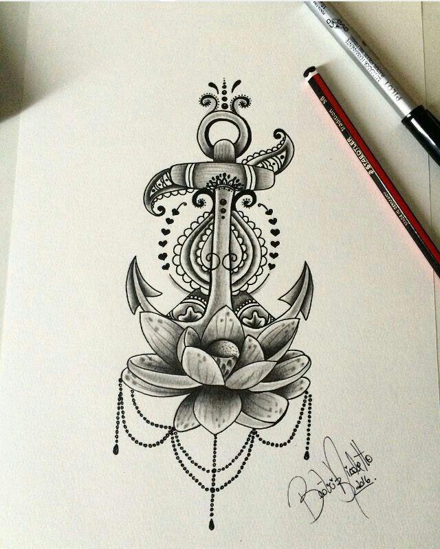 Drawn anchor flower Anchor flower tattoo Girl half