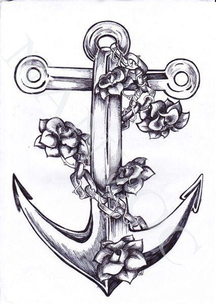 Drawn anchor flower  tattoo anchor tattoo by