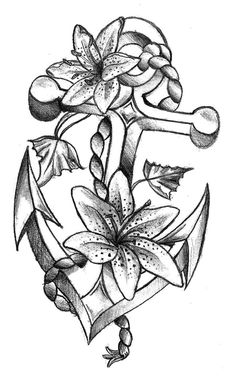 Drawn anchor flower Flowers and Copy design &