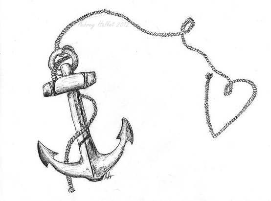 Drawn anchor heart Pen Anchor aubrey with rope