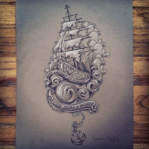"""Drawn anchor heart """"This on Best sinking Sailor"""