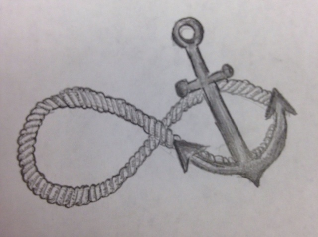 Drawn anchor infinity sign Draw Infinity Anchor Sign to