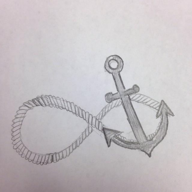 Drawn anchor infinity sign Inside curved How an draw