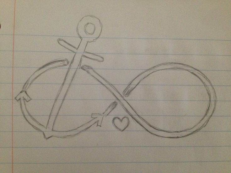 Drawn anchor infinity sign 62 and on handed free