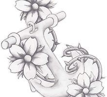 Drawn anchor pencil drawing Easy how Search flowers Google