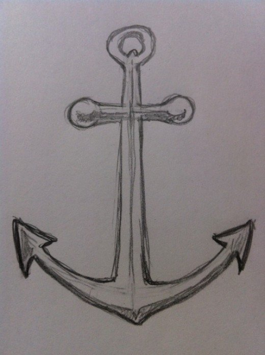 Drawn anchor pencil drawing Anchor Step How FeltMagnet Outline