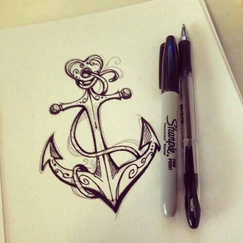 Drawn anchor pencil drawing Anchor tattoo ideas beautiful on