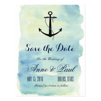 Drawn anchor save the date Watercolor Save Date Postcard T