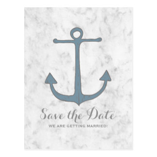 Drawn anchor save the date Rustic Anchor the Date Postcards