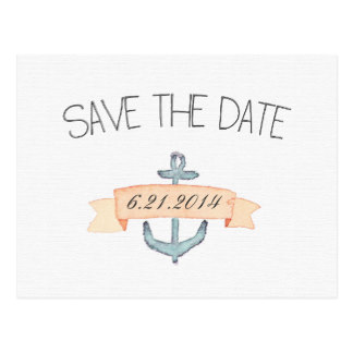 Drawn anchor save the date  Teal Anchor Banner Save