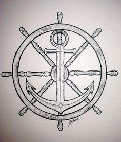 Drawn anchor ship anchor Set Drawn Hand drawing anchor