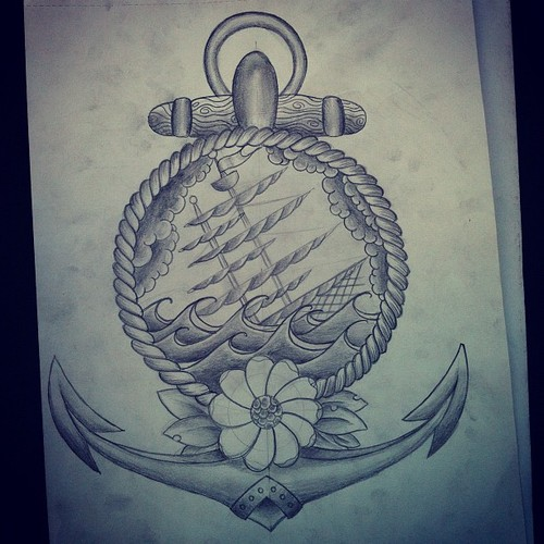 Drawn anchor ship anchor (Taken #ship #anchor #tattooflash Today