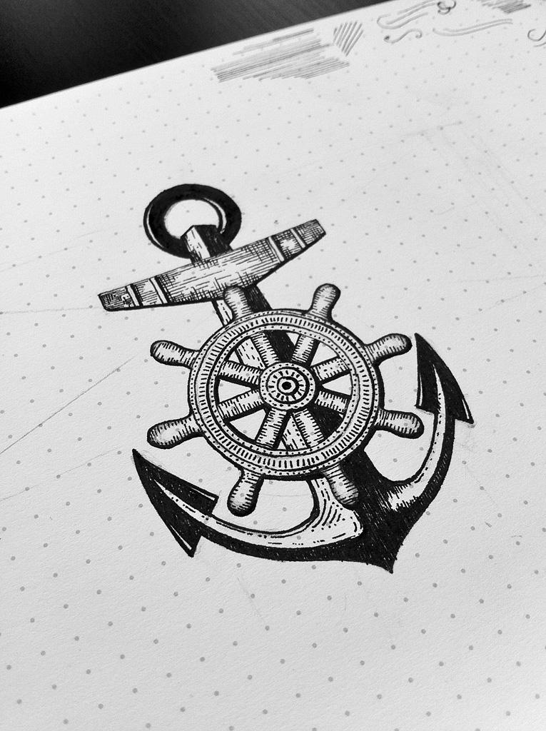 Drawn anchor ship anchor Where didn't great looks (