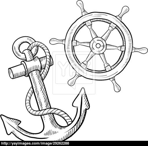 Drawn anchor ship wheel Anchor wheel sketch com vector