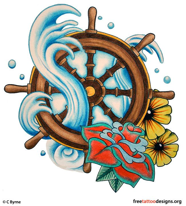 Drawn anchor ship wheel Tattoos Ship Pinterest wheel Gypsy