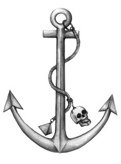 Drawn anchor skull Anchor skull Stock Wheel Ship