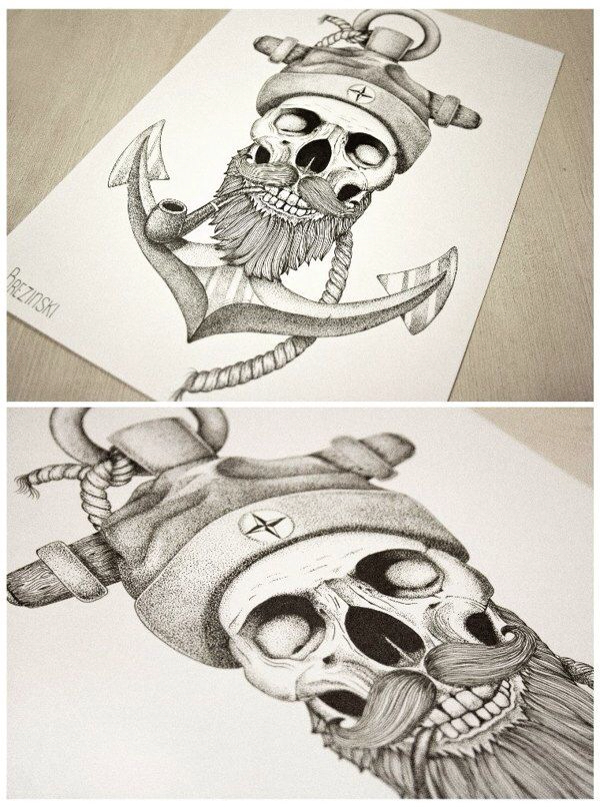 Drawn anchor skull Tattoo Painting idea Illustration