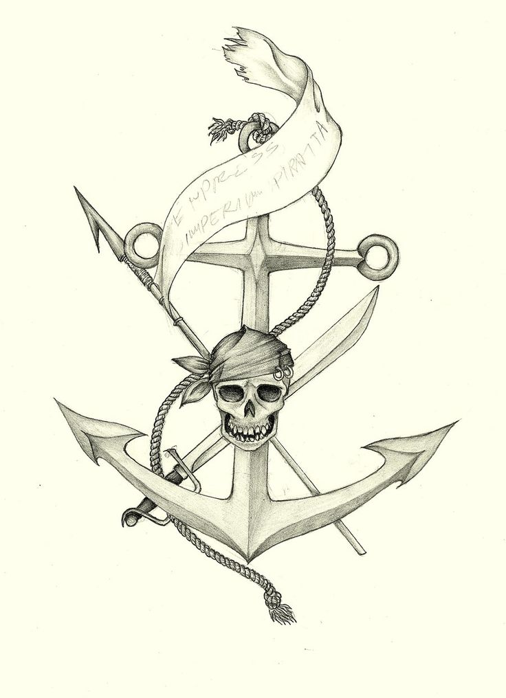 Drawn anchor skull Find on on this Pinterest