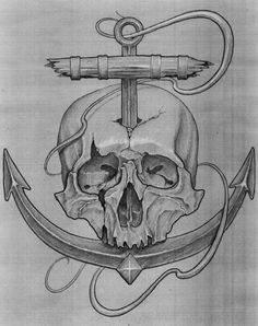 Drawn anchor skull Navy 1731 Tats anchor Squid