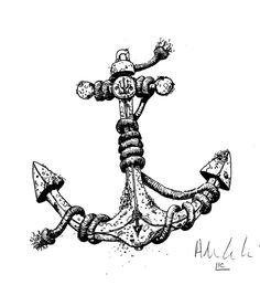 Drawn anchor trident  hair Skull and pin