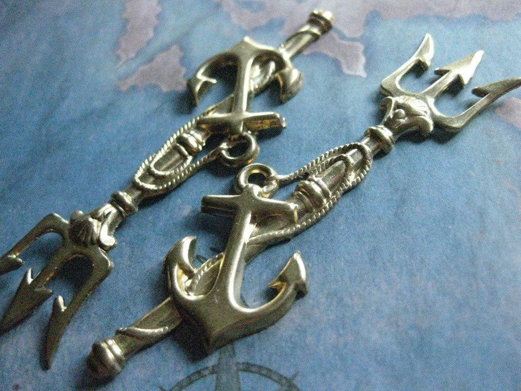 Drawn anchor trident Finding and Brass Poseidon's Anchor