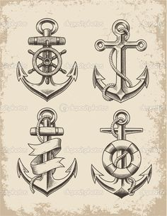 Drawn anchor trident Drawing Vector Anchor Compass &