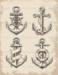 Drawn anchor trident Drawing Vector Drawn Hand Anchor