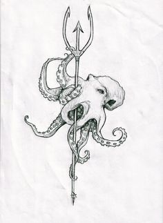Drawn anchor trident Set sketch Octopus a Drawn