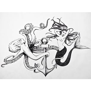 Drawn anchor underwater Pin Rose Octopus Tattoo Piercings